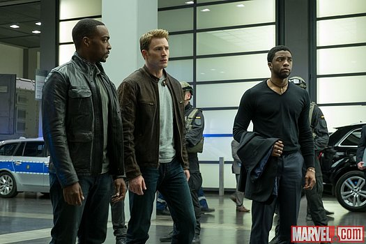 Sam Wilson, Steve Rogers und T'Challa in Marvel's 'Captain America: Civil War'<br>
